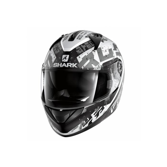 Integralny kask motocyklowy SHARK RIDILL Kengal Mat czarno-biało-srebrny