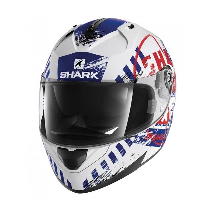 Integralny kask motocyklowy SHARK RIDILL Skyd biało-niebiesko-czerwony