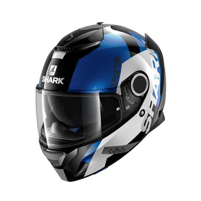 Integralny kask motocyklowy SHARK SPARTAN Apics czarno-biało-niebieski