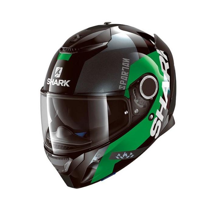 Integralny kask motocyklowy SHARK SPARTAN Apics czarno-szaro-zielony wyprzedaż