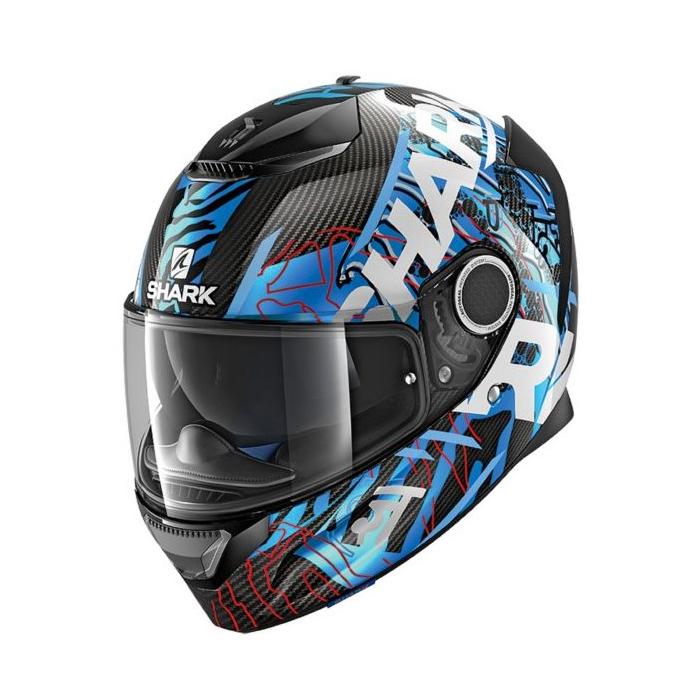 Integralny kask motocyklowy SHARK SPARTAN CARBON Daksha czarno-biało-niebieski