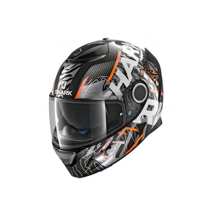 Integralny kask motocyklowy SHARK SPARTAN CARBON Daksha czarno-biało-pomarańczowy