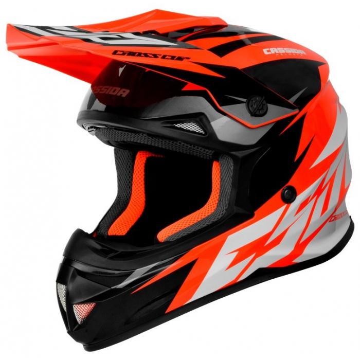 Motocrossowy kask Cassida Cross Cup Two czarno-biało-szaro-fluo pomarańczowy