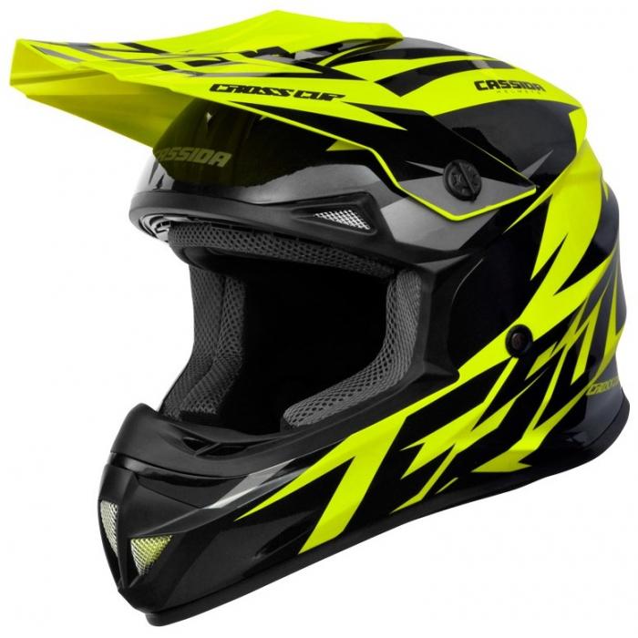 Motocrossowy kask Cassida Cross Cup Two czarno-szaro-fluo żółty