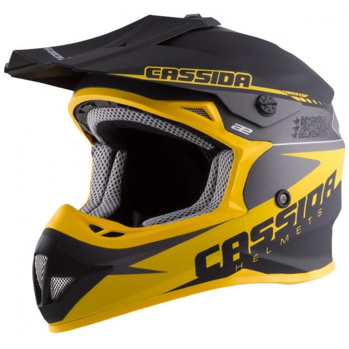 Motocrossowy kask Cassida Libor Podmol czarno-żółto-szary