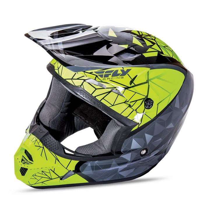 Motokrosowy kask FLY Racing Kinetic CRUX - USA fluo żółto-szaro-czarny - II. jakość