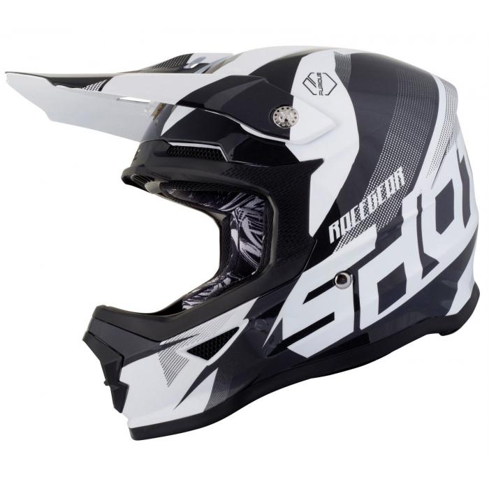Motocrossowy kask Shot Ultimate czarno-biały wyprzedaż