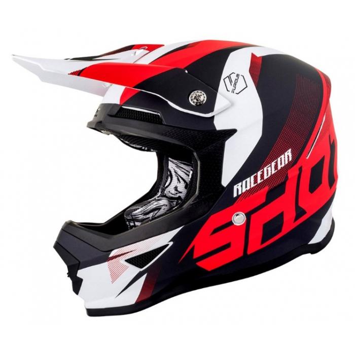 Motocrossowy kask Shot Ultimate czarno-biało-czerwony