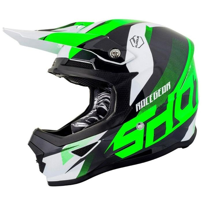 Motocrossowy kask Shot Ultimate czarno-biało-fluo zielony