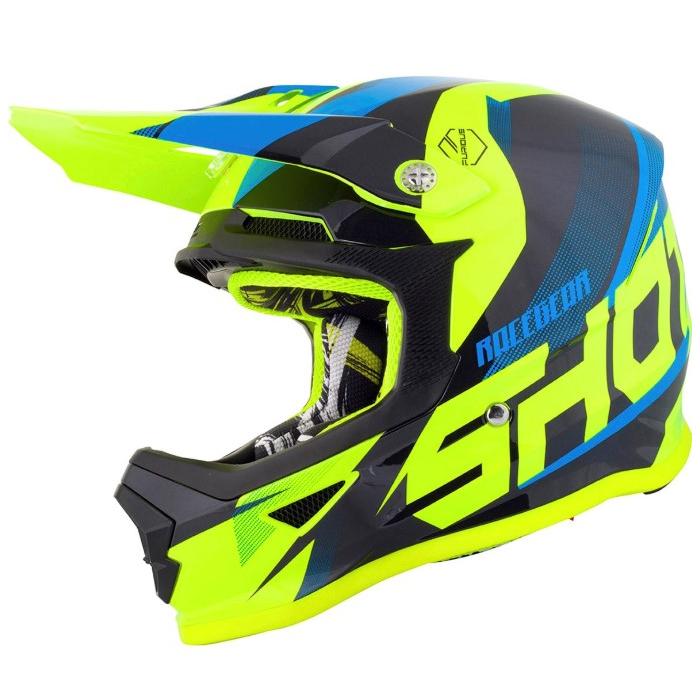Motocrossowy kask Shot Ultimate czarno-niebiesko-fluo żółty