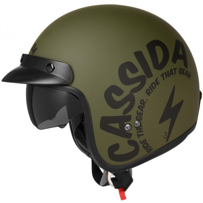 Otwarty kask motocyklowy Cassida Oxygen Gear zielono-czarny