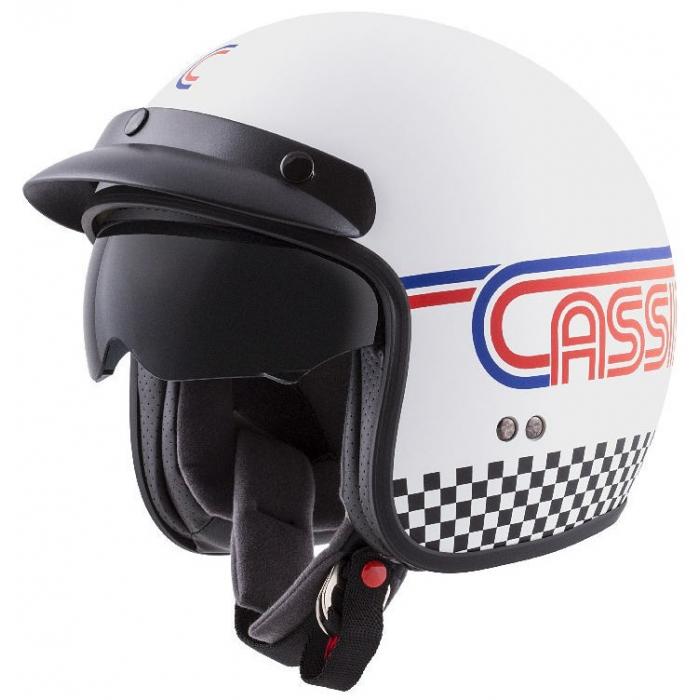 Otwarty kask motocyklowy Cassida Oxygen Rondo biało-niebiesko-czerwono-czarny wyprzedaż