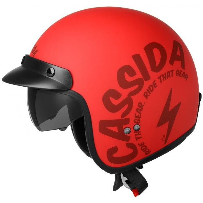 Otwarty kask motocyklowy Cassida Oxygen Gear czerwono-czarny