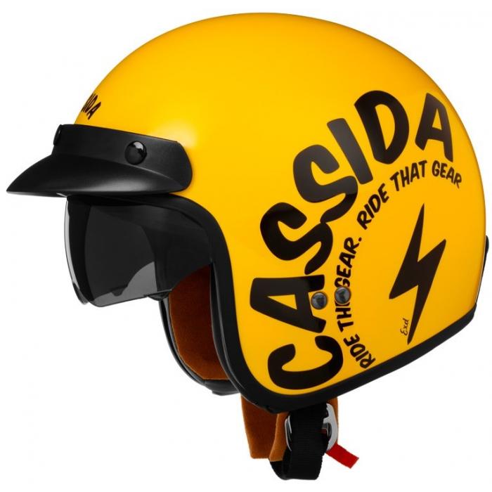 Otwarty kask motocyklowy Cassida Oxygen Gear żółto-czarny