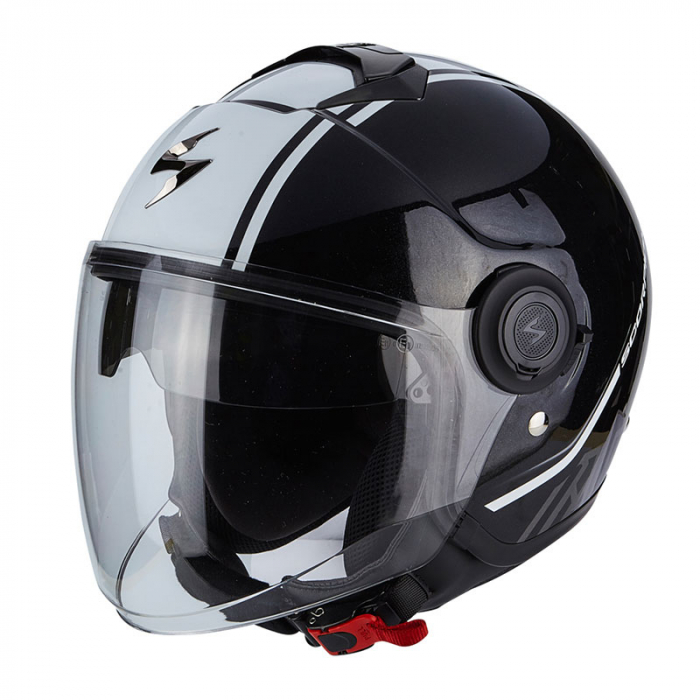 Otwarty kask motocyklowy Scorpion EXO-CITY Avenue czarno-biały wyprzedaż
