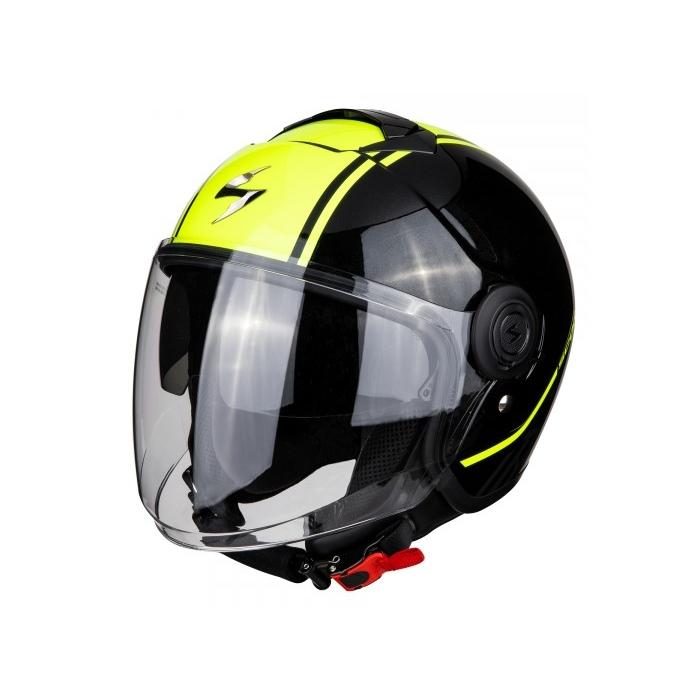 Otwarty kask motocyklowy Scorpion EXO-CITY Avenue czarno-fluo żółty