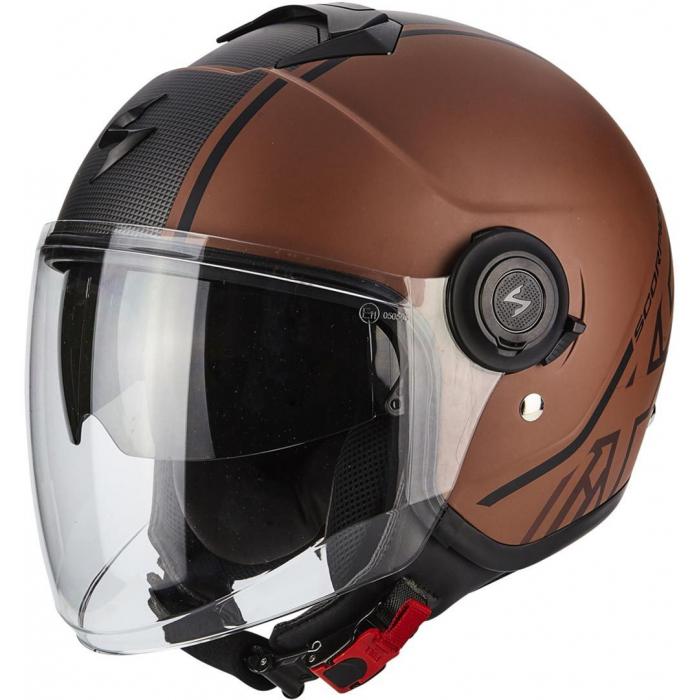 Otwarty kask motocyklowy Scorpion EXO-CITY Avenue brązowo-czarny