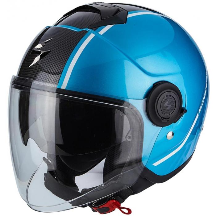 Otwarty kask motocyklowy Scorpion EXO-CITY Avenue niebiesko-czarny