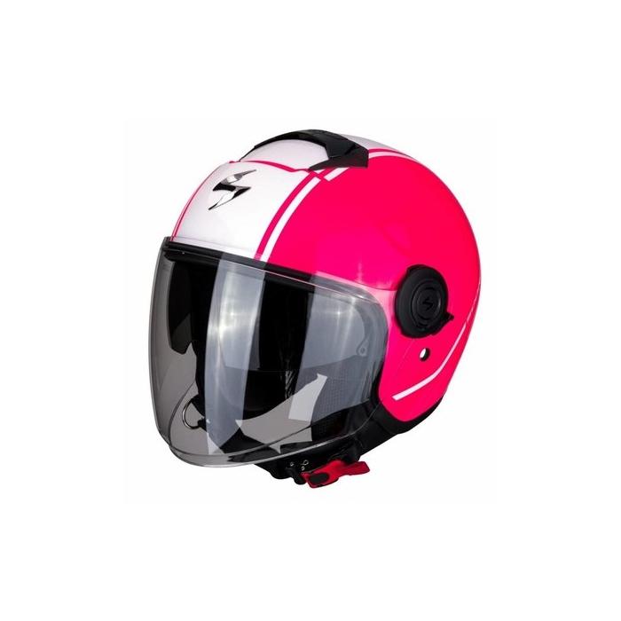 Otwarty kask motocyklowy Scorpion EXO-CITY Avenue różowo-biały