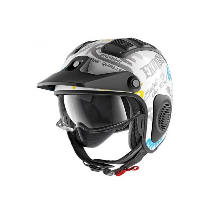 Otwarty kask motocyklowy SHARK X-DRAK Freestyle biało-niebiesko-żółty