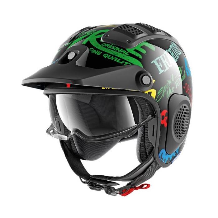 Otwarty kask motocyklowy SHARK X-DRAK Freestyle czarno-niebiesko-zielony