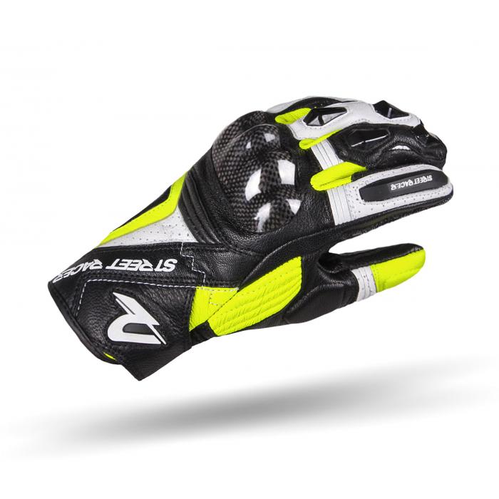 Rękawice motocyklowe Street Racer XTR czarno-biało-fluo żółte