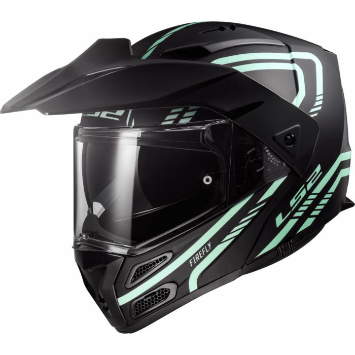Szczękowy kask motocyklowy LS2 FF324 Metro EVO Firefly czarny matowy