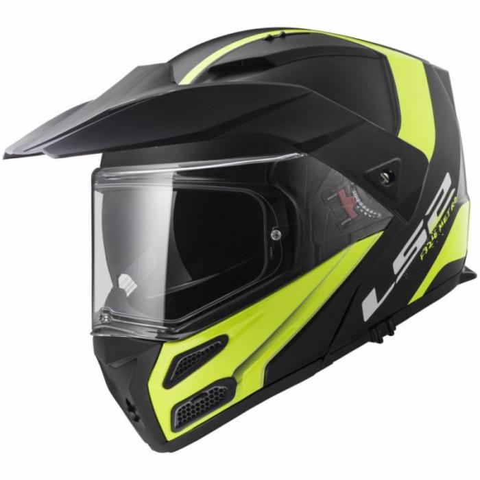 Szczękowy kask motocyklowy LS2 FF324 Metro Rapid czarno-fluo żółty wyprzedaż