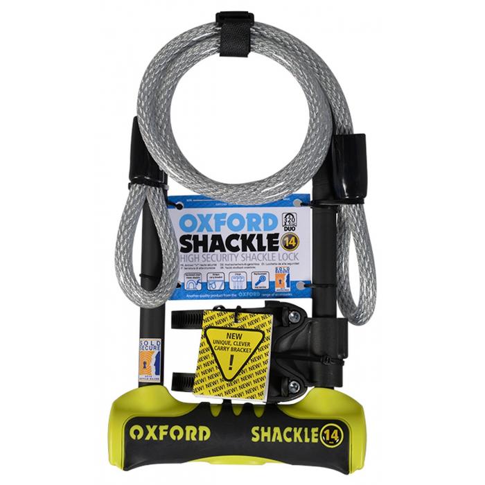 Zamek Oxford U profil Shackle 14 DUO żółto-czarny
